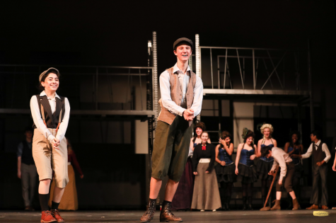"Coppell High School junior Tiffany Mares and senior Drew Scrivner perform ""Newsies"" in November. Scrivner is pursuing acting at Kansas State University."
