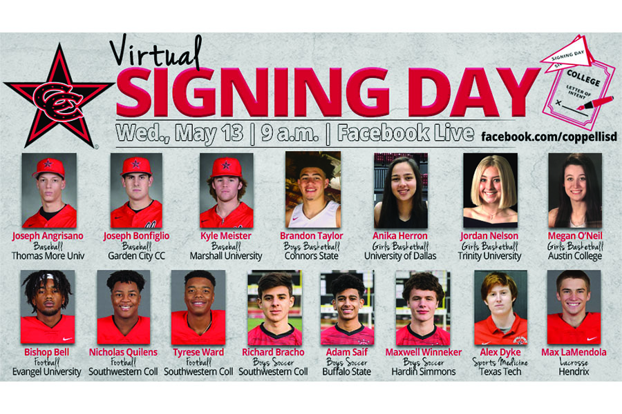Due to closures in light of coronavirus, the Coppell athletics department is hosting a virtual signing day tomorrow morning via Facebook. Fifteen athletes sign to play their respective sports at the collegiate level. Photo courtesy Naveen Boppana