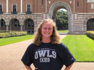 Coppell junior midfielder Bailey Peek visits the academic quadrangle in front of Lovett Hall at Rice University on July 11. Peek verbally committed to play Division I soccer at Rice on July 10.
