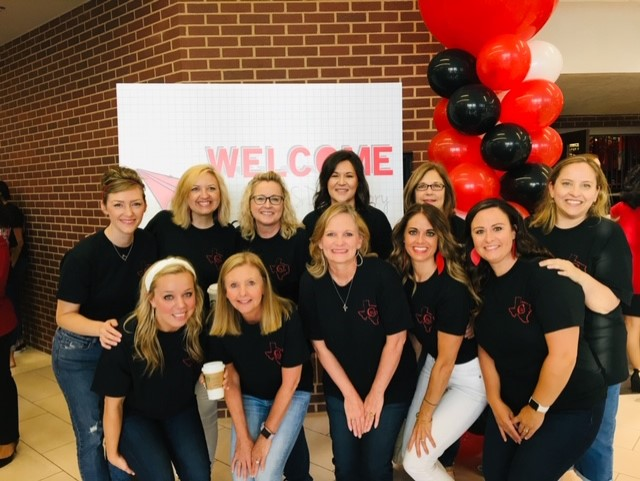 Lindsey Oh (fourth from top left) meets with the Coppell ISD elementary counselors at Coppell High School during convocation in Aug. 2019. Oh joins the CHS counseling staff this school year after working as a counselor at Lakeside Elementary School. Photo courtesy Lindsey Oh