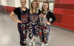 Coppell High School algebra II and honors pre-calculus teacher Lucy Grimmett (right) poses with CHS9 ESL facilitator Jessica Lynch (middle) and CHS9 world geography teacher Brittany Scruggs (left) at CHS9 in their senior overalls from attending CHS. Grimmett returned to CHS this year after teaching at CHS9 for three years. Photo courtesy Grimmett