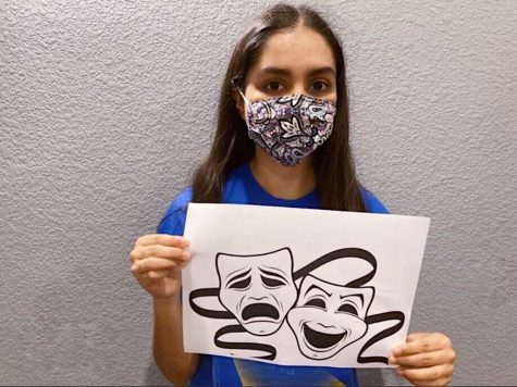 CHS9 student Nanditha Diggikar shows the duality of theater masks and COVID-19 masks. Diggikar took her acting experience and created a summer camp to help improve the skills of children from the community while  raising money to donate to less fortunate children in India.