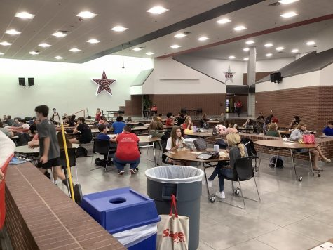 Coppell High School students have lunch while maintaining social distancing during B lunch in the CHS commons on Tuesday. The first day of in-person school started with 27% of Coppell ISD students going back to school and following the public health guidelines strictly.