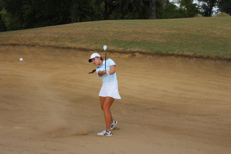 Coppell senior golfer Jamie Welsh practices her bunker shot on Oct. 3, 2019 at Riverchase Golf Club in Coppell. Welsh committed to play golf at Oklahoma City University on Aug. 9.