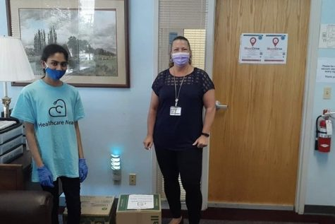 Coppell High School senior Naisha Gottipati delivers a donation of face shields to UT Southwestern Clements Jr. University Hospital on July 14. Gottipati started the nonprofit Healthcare Meals, Inc. to raise money, food, and personal protective equipment for hospitals in the Dallas-Fort Worth area.