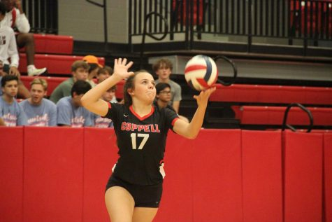 Coppell sophomore setter Taylor Young serves against Grapevine on Oct. 10, 2019. The Cowgirls will play Frisco Lone Star, Keller Central, Sachse and Frisco Reedy at the CHS Arena this weekend.