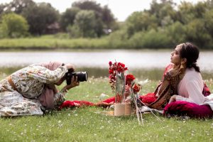 Coppell High School senior Yusra Mohammed photographs CHS senior Nausheen Ahmed at Moore Road Park. Mohammed's photography is centered around cultural fashion in order to highlight the beauty of individuality.