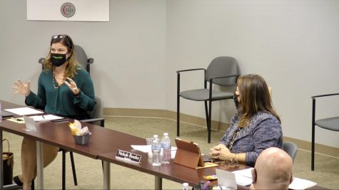 Coppell ISD Trustee Leigh Walker discusses improving community engagement during the livestream of the CISD Board meeting on Monday. The meeting addressed the district's focus on new communication and updates with the podcast.