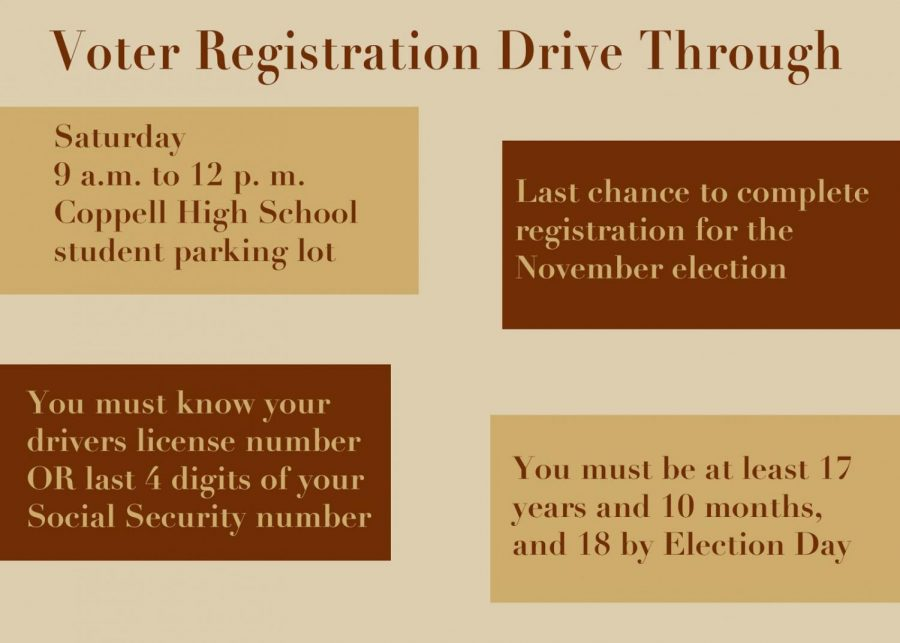 The Voter Registration Drive is Saturday at Coppell High School. The district is providing an opportunity to register to vote for the upcoming election in November. Graphic by Blanche Harris.