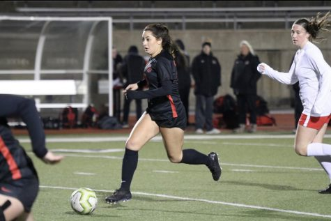 Former Coppell defensive midfielder and  CHS 2020 graduate Montse Lomeli races down Buddy Echols Field on Feb. 10 against Marcus last season. Lomeli is attending Northumbria University this fall  in Newcastle, England, and plans to major in sports management while playing soccer. Sidekick file photo.