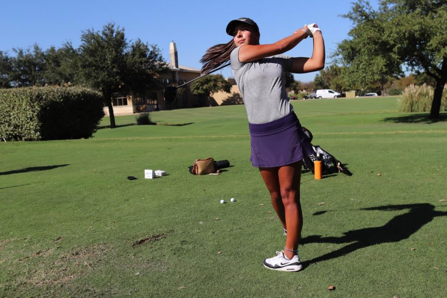 Coppell junior golfer Lauren Rios practices her drive at the Cowboys Golf Club on Oct. 13. Rios enters the fall season after recovering from heart surgery in December.