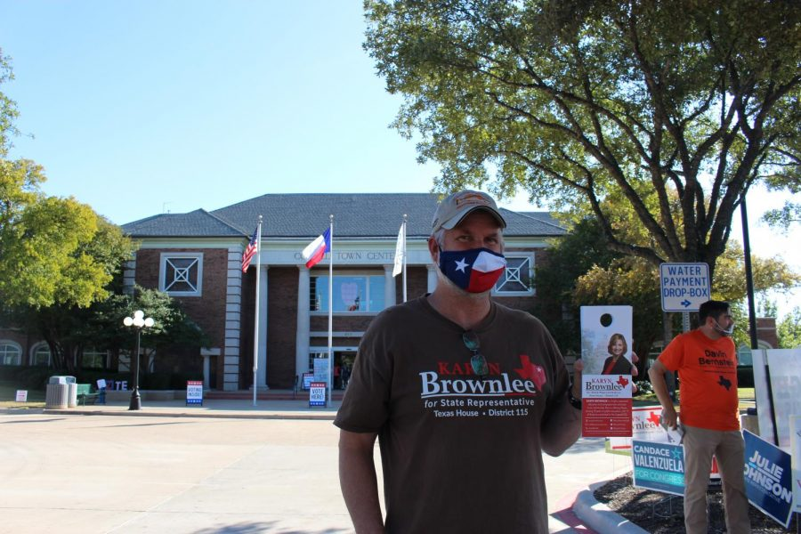 A+voter+shows+his+brochure+for+District+115+State+Representative+candidate+Karyn+Brownlee+at+Coppell+Town+Center.+Today+is+Election+Day%2C+with+seven+polling+locations+open+in+Coppell%2C+including+the+Coppell+Town+Center%2C+Coppell+Arts+Center%2C+Wilson+Elementary%2C+Mockingbird+Elementary%2C+Lakeside+Elementary%2C+Riverchase+Elementary+and+Cottonwood+Creek+Elementary.+
