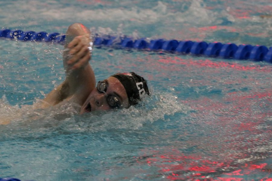 Coppell senior swimmer Cole Tramel competes in the boys 500-yard freestyle consolation finals at the Class 6A Region II Swimming and Diving Meet on Oct. 3, 2019 at the Lewisville ISD Westside Aquatic Center. The Coppell swim team will have its first meet of the season at 3 p.m. tomorrow against Trinity at the YMCA.
