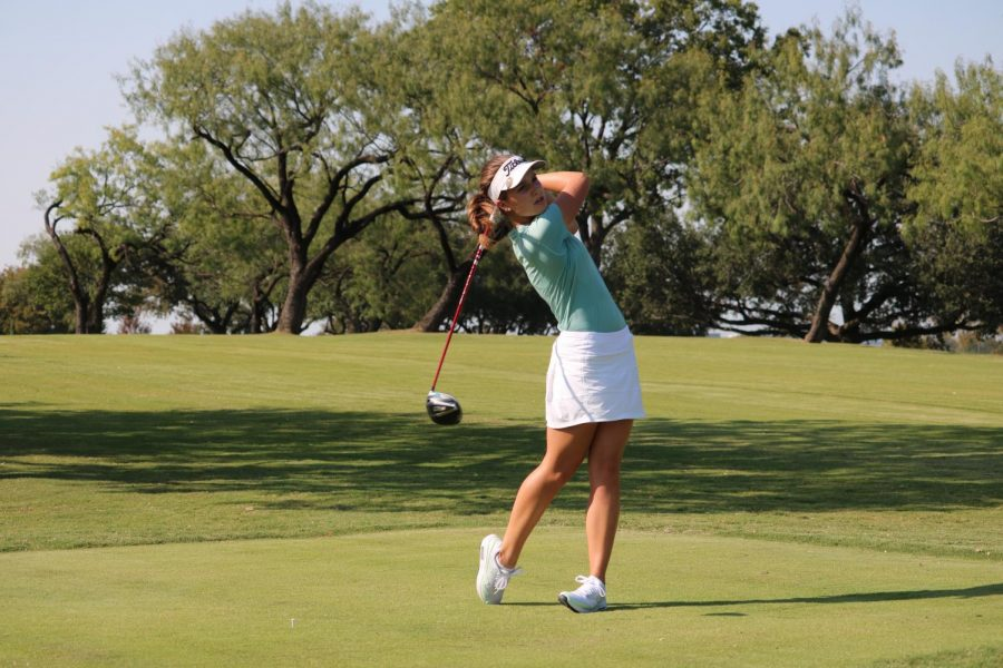 Coppell senior Jamie Welsh  practices at Las Colinas Country Club on Tuesday. The Cowgirls finished third at the Heart of Texas Invitational, their first team tournament of the year.