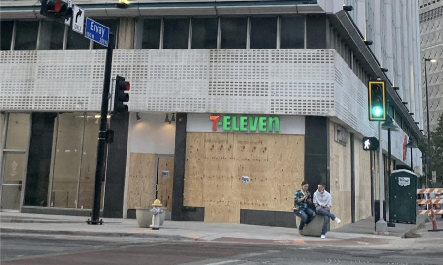 7-Eleven boards up its windows in Downtown Dallas in response to election results from Nov. 7. Due to the recent presidential election, cities have taken precautions to ensure the safety and protection of their businesses.