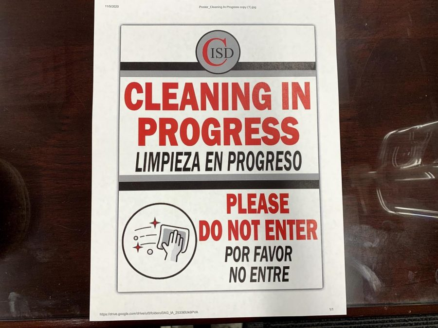 Coppell ISD posts signs when cleaning is in progress in classrooms in order for students and faculty to be aware of a possibly contaminated room. CISD follows all CDC guidelines to ensure the safety of students. Photo by Lilly Gorman