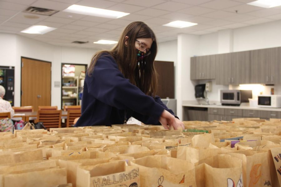 Coppell High School senior National Art Honors Society president Jordan Cohen sets up Halloween bags for the CHS teachers on Oct. 27 in the teachers lounge. NAHS gives back to teachers every year by doing an interactive event, but due to COVID-19, they are giving the teachers Halloween goodies in bags decorated by the NAHS members. Photo by Nandini Muresh