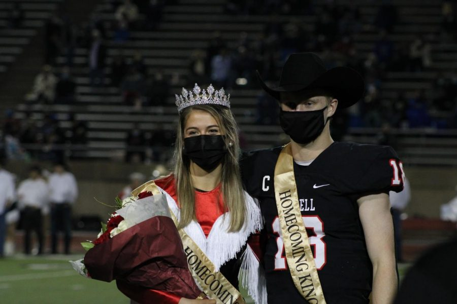 Coppell High School seniors Maggie Castranova and Ryan Walker are named homecoming queen and king on Friday at Buddy Echols Field. The homecoming court and crowning took place at halftime during the football game against Plano West.