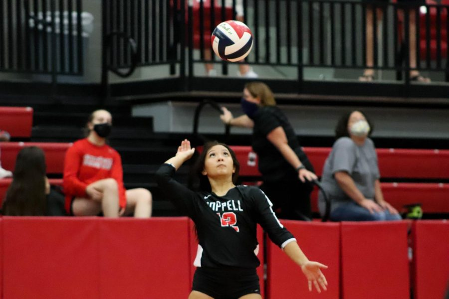Coppell sophomore Meagan Lee serves against Hebron on Oct. 9 in the CHS Arena. Coppell plays Plano West, ranked second in District 6-6A, tomorrow at 3 p.m. in the CHS Arena.