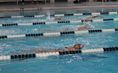 Coppell junior Claire Jiang warms up for the intrasquad meet on Nov. 21 at the YMCA. After Coppell High School was limited to virtual learning only for five days, the Coppell swimming team returned to action on Friday with an intrasquad meet at the Coppell YMCA.