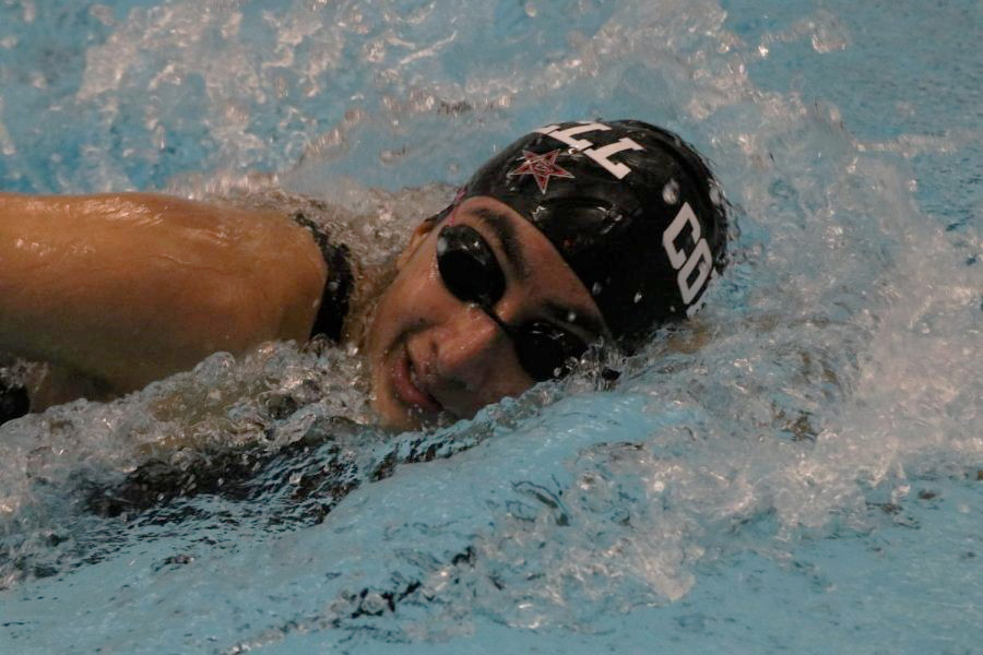 Coppell senior Krithi Medhuri competes in the girls 200-yard medley on Feb. 1, 2020 at the Lewisville ISD Westside Aquatic Center. The intrasquad meet will take place on Friday from 1:40 p.m. at the Coppell YMCA.