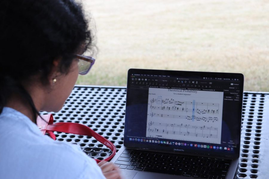Coppell High School senior Swetha Tandri composes a new song at Andy Brown Park East on Sunday. Tandri has been using music as a tool to teach math to kids.
