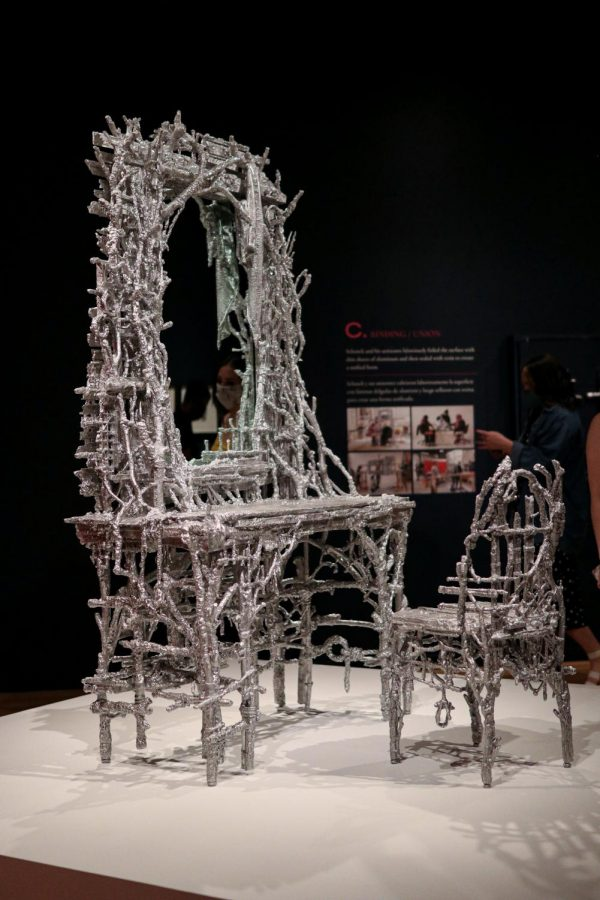 """""""Alley Vanity"""" and """"Garden Chair"""" by Chris Schanck are located in the Curbed Vanity special exhibition at the Dallas Museum of Art on March 28. The DMA is open from 11 a.m. to 5 p.m. Sunday through Friday and 11 a.m. to 7 p.m. on Saturday."""