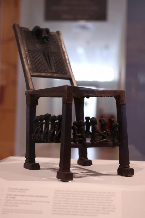 """The """"Chair with head on back and figures on rungs"""" by the Chowke peoples is located in the Arts of Africa section of the Dallas Museum of Art on March 28. The DMA is open from 11 a.m. to 5 p.m. Sunday through Friday and 11 a.m. to 7 p.m. on Saturday."""