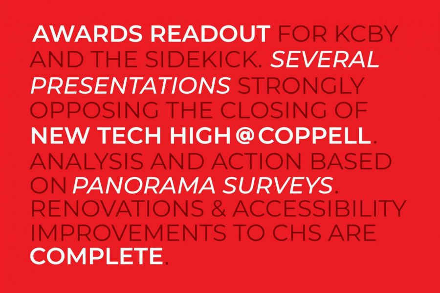 The School Board met on Monday to discuss concerns the public may have including the proposed closure of New Tech High @ Coppell and cuts to the G/T and IB programs. For the first time, an awards readout session also took place.