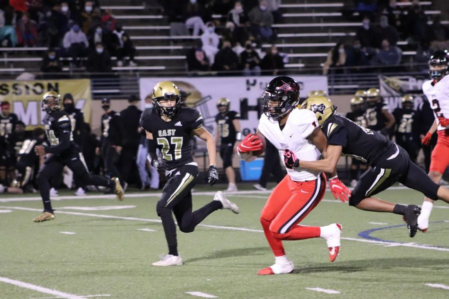 Coppell senior wide receiver KJ Liggins dodges Plano East defenders at Tom Kimbrough Stadium on Friday. Coppell takes on Flower Mound tomorrow at 7 p.m. at Buddy Echols Field in the last home game of the season.