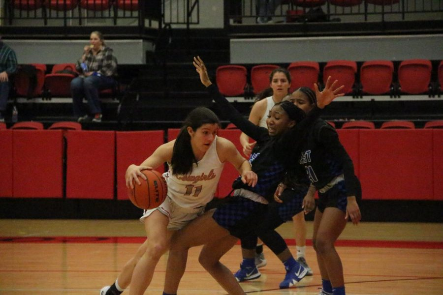 Coppell sophomore shooting guard Waverly Hassman drives against Plano West senior shooting guard Katy Wade at the CHS Arena on Tuesday.  Coppell defeated Plano West, 66-65, in overtime.