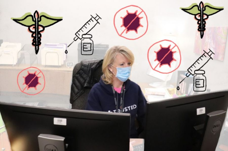 Coppell High School nurse Beth Dorn updates the CHS COVID-19 tracker in her office on Wednesday. Dorn was one of the first Coppell ISD employees to receive the initial dose of the Moderna COVID-19 vaccine on Jan. 6.