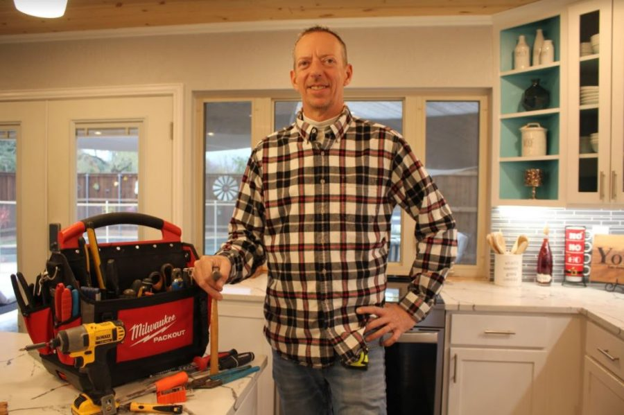 Coppell handyman Matt Young uses his toolbox for home repairs on Wednesday. Young has been a handyman in Coppell for 11 years after writing software applications for the finance industry.