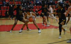 Coppell senior guard India Howard shields against Plano East at the CHS Arena on Friday. The Cowgirls lost, 35-33, to the undefeated Plano East.