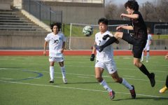 Coppell senior defender Daniel Nelson gains control of a pass against Frisco Rock Hill sophomore forward Isaac Sorenson and freshman midfielder Ashton Medina on Saturday at Buddy Echols Field.Coppell defeated Rock Hill, 3-0.