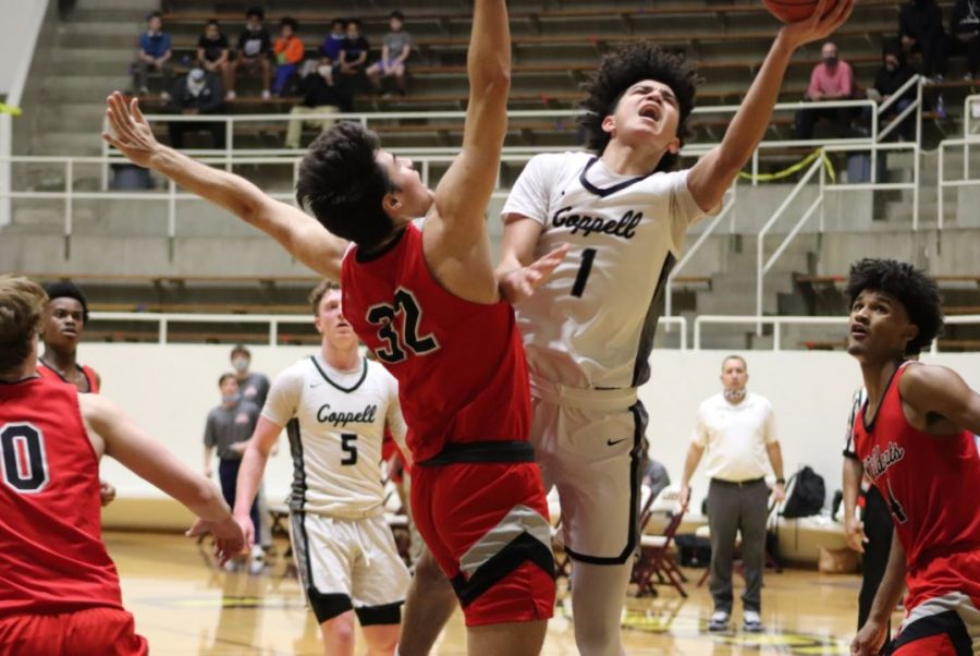 Coppell junior point guard Anthony Black shoots against Lake Highlands junior forward Adam Lopez at Loos Sports Complex in Addison on Thursday. Coppell fell to Lake Highlands, 53-50, ending its basketball season.