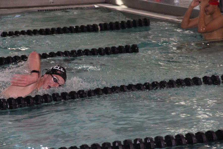 Coppell sophomore swimmer Asher Johnson practices his 25-yard freestyle on Nov. 19 at the Coppell YMCA. Johnson and the rest of the 200-meter relay team were disqualified after a false start at the Class 6A Region II Swimming and Diving Championships on Saturday.