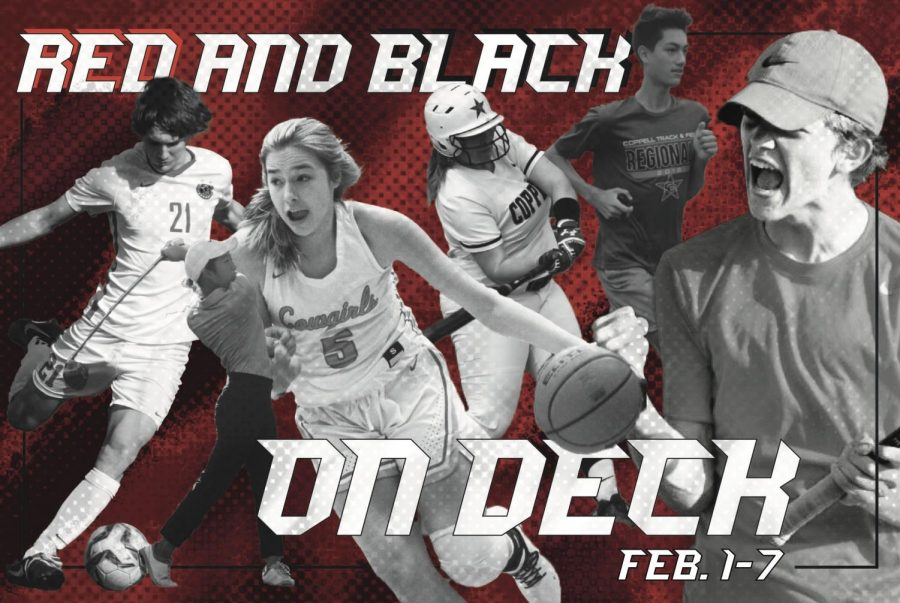 Red and Black on Deck is a Sidekick series detailing the next seven days of Coppell varsity sports. It will be posted every Monday for the rest of the 2020-21 school year. Graphic by Samantha Freeman