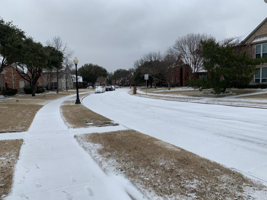 Stonemeade Estates is covered in snow on Sunday. Coppell High School administrators are supporting students and faculty through the power outages caused by the freezing temperatures.