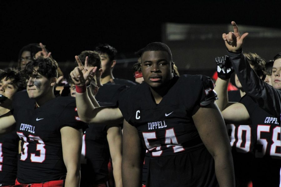 Coppell senior Febechi Nwaiwu was unanimously selected for the first team of All-District 6-6A  for offense as center and defense as defensive tackle.
