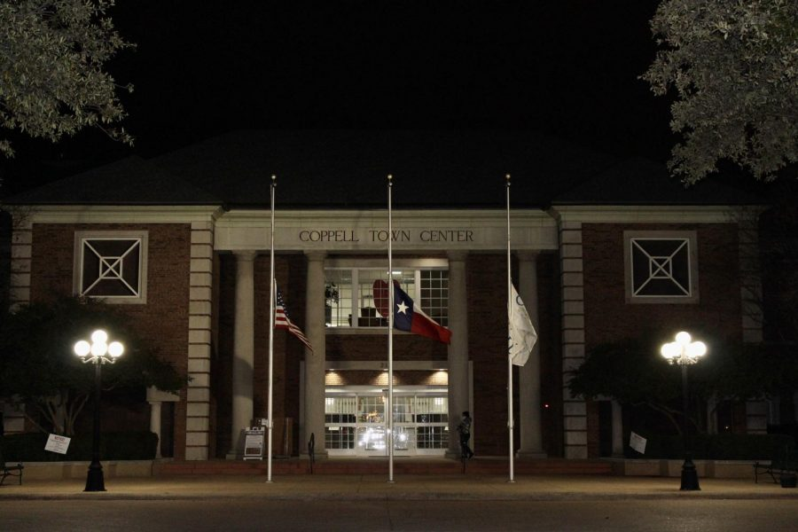 The flags fly at half mast in honor of the life and public service of United States Representative Ronald Jack Wright in front of Coppell Town Center on Tuesday. City council meetings are regularly held on the second and fourth Tuesday of each month at 7:30 p.m.