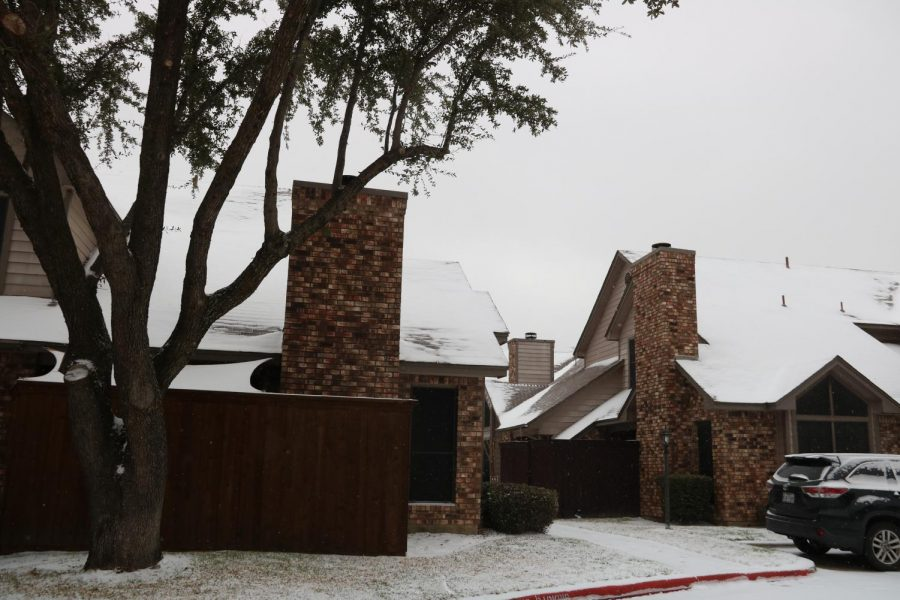 Snow covers the rooftops of homes in the Windance neighborhood on Sunday. Coppell experienced snowfall on Sunday, and there is a winter storm warning for the Dallas-Fort Worth area as per the National Weather Service.