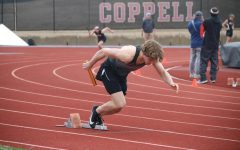Coppell sophomore relay sprinter Matthew Williams takes off for the 400-meter relay during the Coppell Relays at Buddy Echols Field on Feb. 27. Coppell hosts its Coppell Invitational meet today at 3:30 p.m.