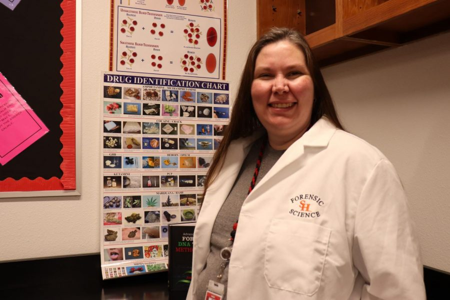 Coppell High School forensic science teacher Sandy Kirkpatrick has been teaching forensics for four years. Kirkpatrick majored in criminal justice and used to be a DNA analyst for the University of North Texas Center of Human Identification.