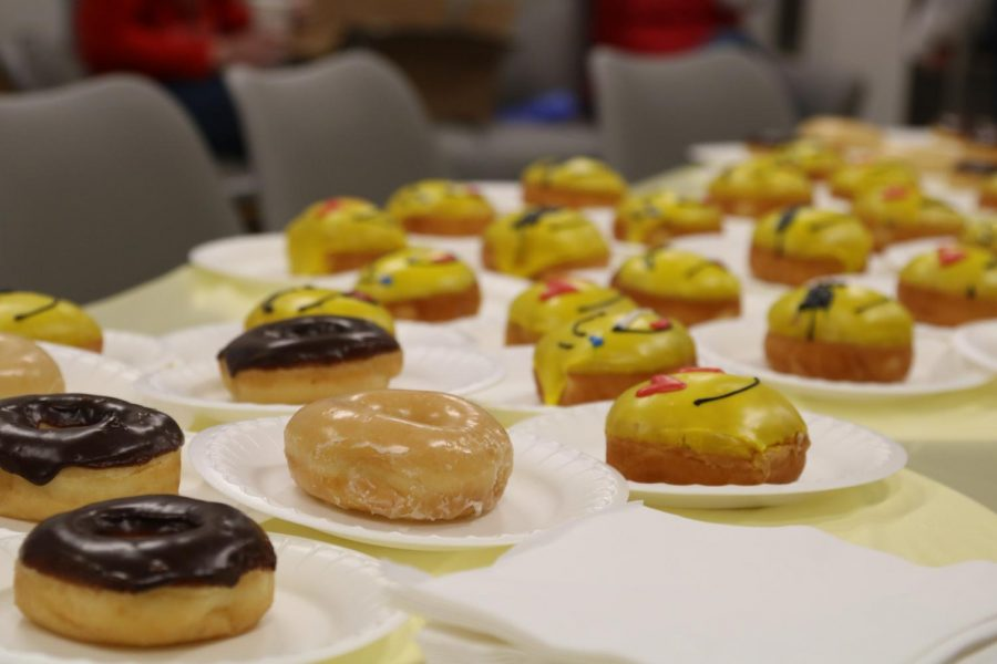 """Donuts are available for staff to pick up at the CHS9 teachers lounge for national """"I Want You To Be Happy"""" day on Wednesday. The Sunshine Committee hosts events every year since 2018 to celebrate major life events and boost the morale of the staff."""