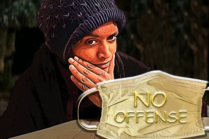 "The phrase ""no offense"" is used, more often than not, before a phrase that would otherwise be wildly offensive. The Sidekick editor-in-chief Sally Parampottil and her trusty friend Montana James ask an important question about this phenomenon: ""Why? Just why?"" Photo illustration by Sally Parampottil and Srihari Yechangunja"
