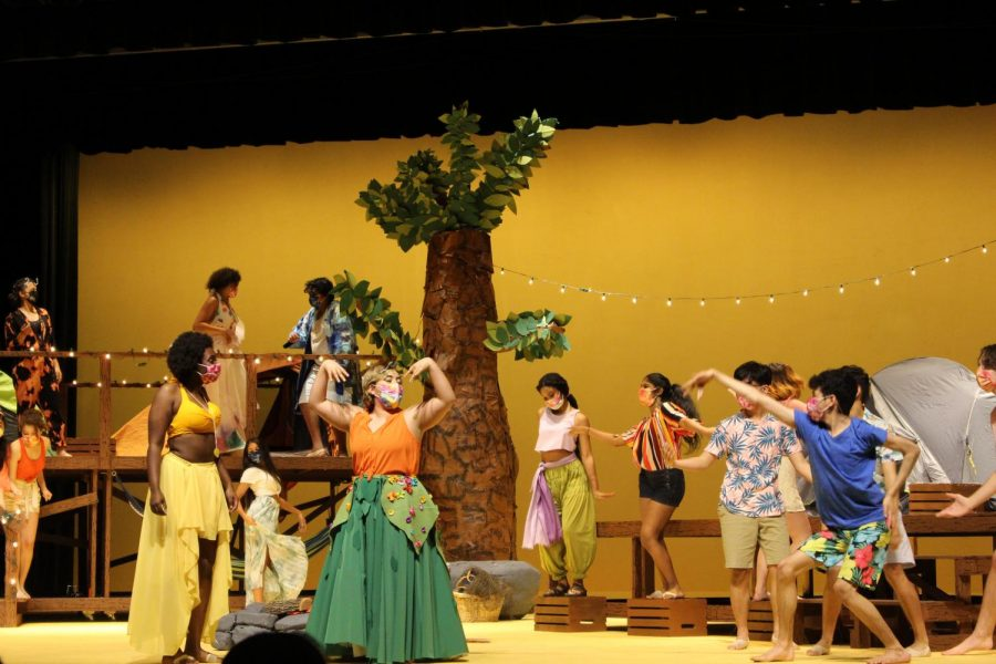 """Coppell High School senior Camila Villarreal plays Asaka and Coppell High School senior Jadalyn Van plays Ti Moune. """"Once On This Island"""" is showing April 16, 17, 18, 19 and 24 with Fridays and Saturdays at 7:30 p.m. and Sunday matinees at 2:30 p.m."""