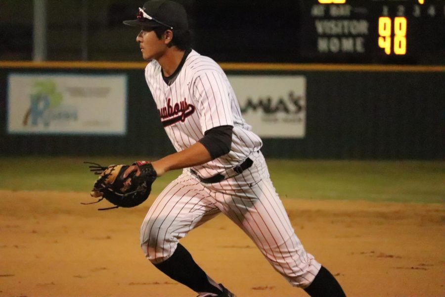 Coppell senior first baseman David Jeon covers first base against Lewisville on April 13 at the Coppell ISD Baseball/Softball Complex.. The Cowboys host Flower Mound tomorrow at 7:30 p.m.