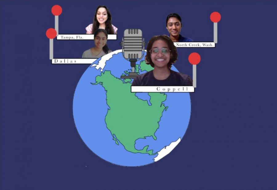 Coppell High School junior Dia Atluri is a part of the The Gen Z Go-Getters podcast with three other students, Shriya Venkataraman from Dallas, Shrutika Srinivasan from North Creek, Wash. and Vaishnavi Vangani from Tampa, Fla. Atluri and the co-hosts of the podcast talk about topics such as entrepreneurship, motivation and Desi culture. Dia is the twin sister of The Sidekick advertising/circulation manager Trisha Atluri.