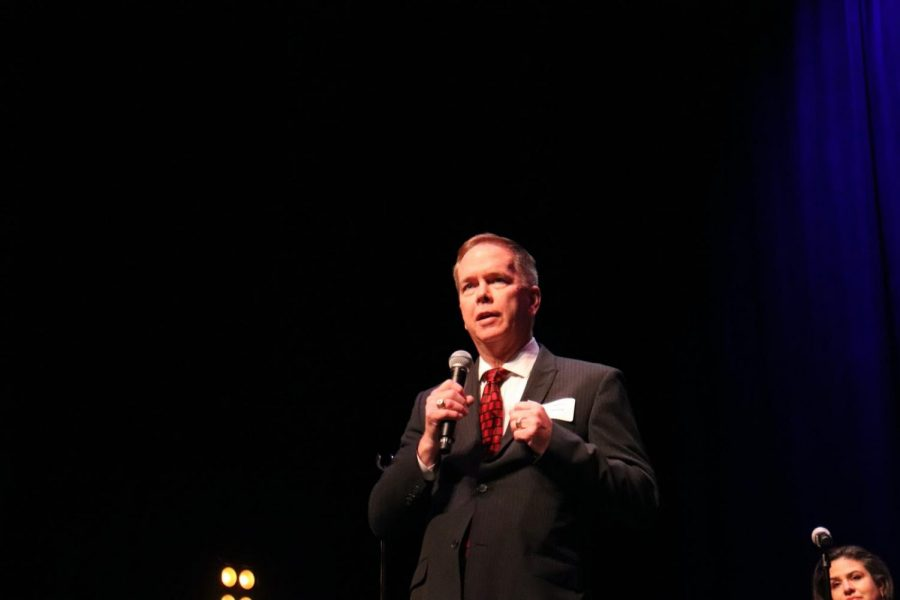 Coppell mayor candidate Wes Mays address the audience at the city's forum at the Coppell Arts Center yesterday. The candidate forum hosted by Neighbors for an Informed Coppell Electorate (NICE) was a free event that allowed Coppell residents to meet with city candidates.